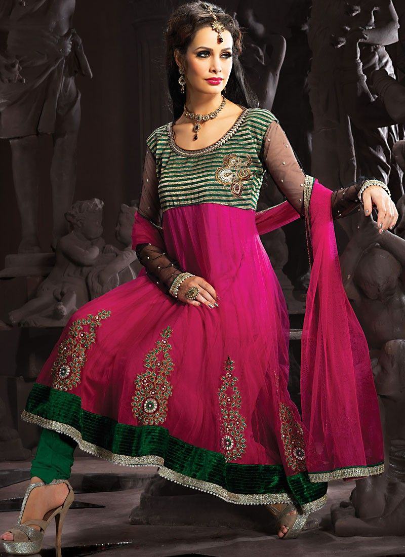 Bottle Green & Fuchsia Anarkali