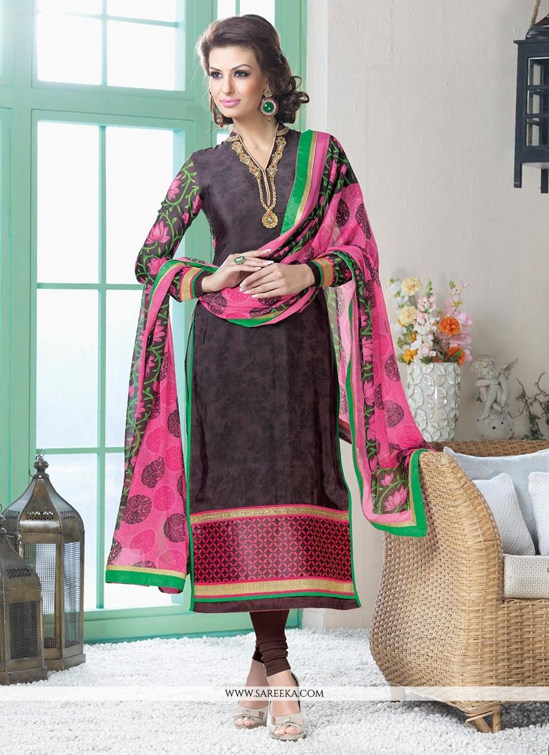 Brown Crepe Silk Churidar Suit