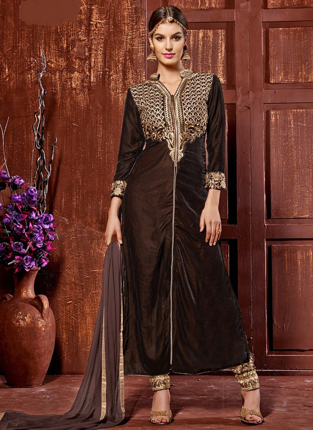 Brown Velvet Churidar Suit