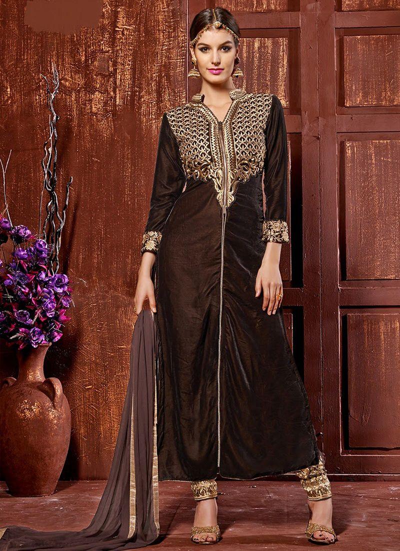 Brown Velvet Churidar Suit