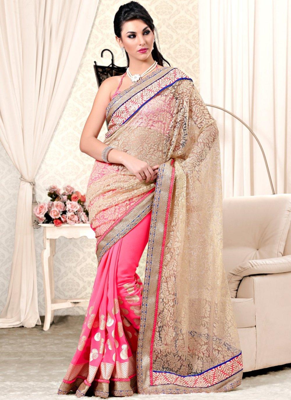 Cream And Pink Brasso Net And Satin Designer Saree