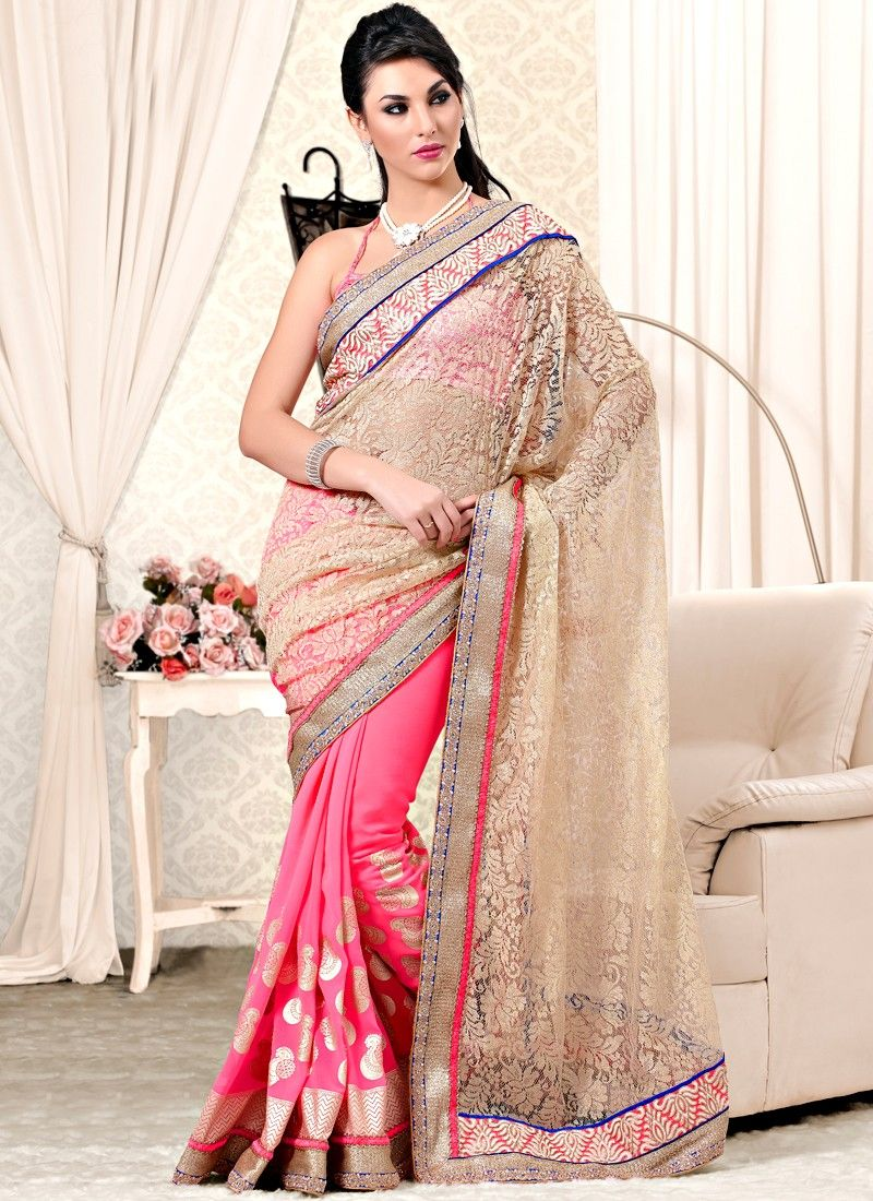 Cream And Pink Brasso Net And Satin Designer Saree