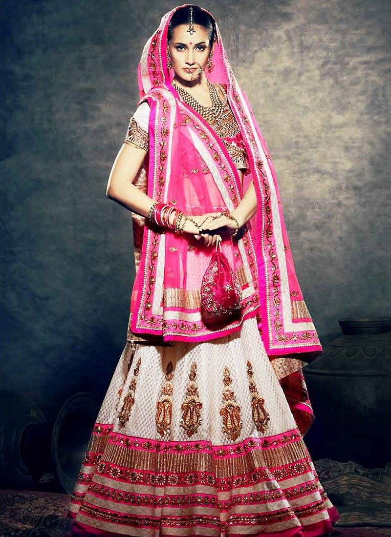 Cream And Pink Jacquard Lehenga Choli