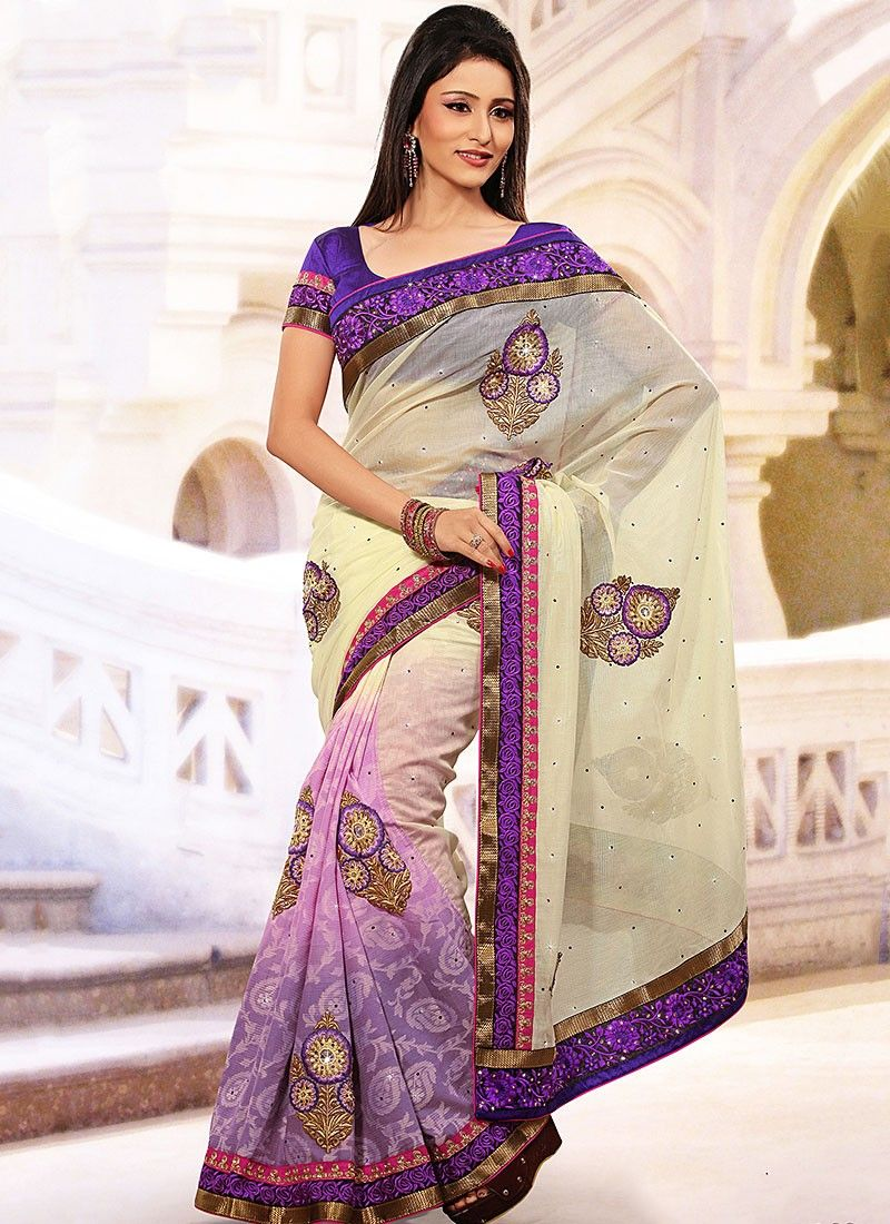 Cream And Purple Half And Half Saree