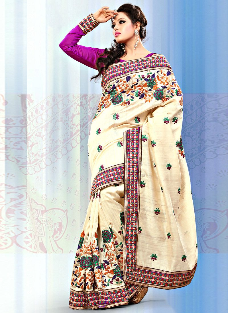 Cream Art Bhagalpuri Silk Saree