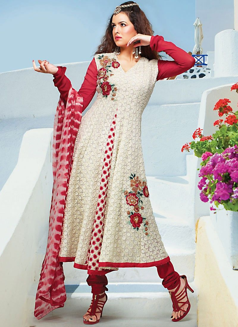 Cream Faux Georgette Churidar Suit