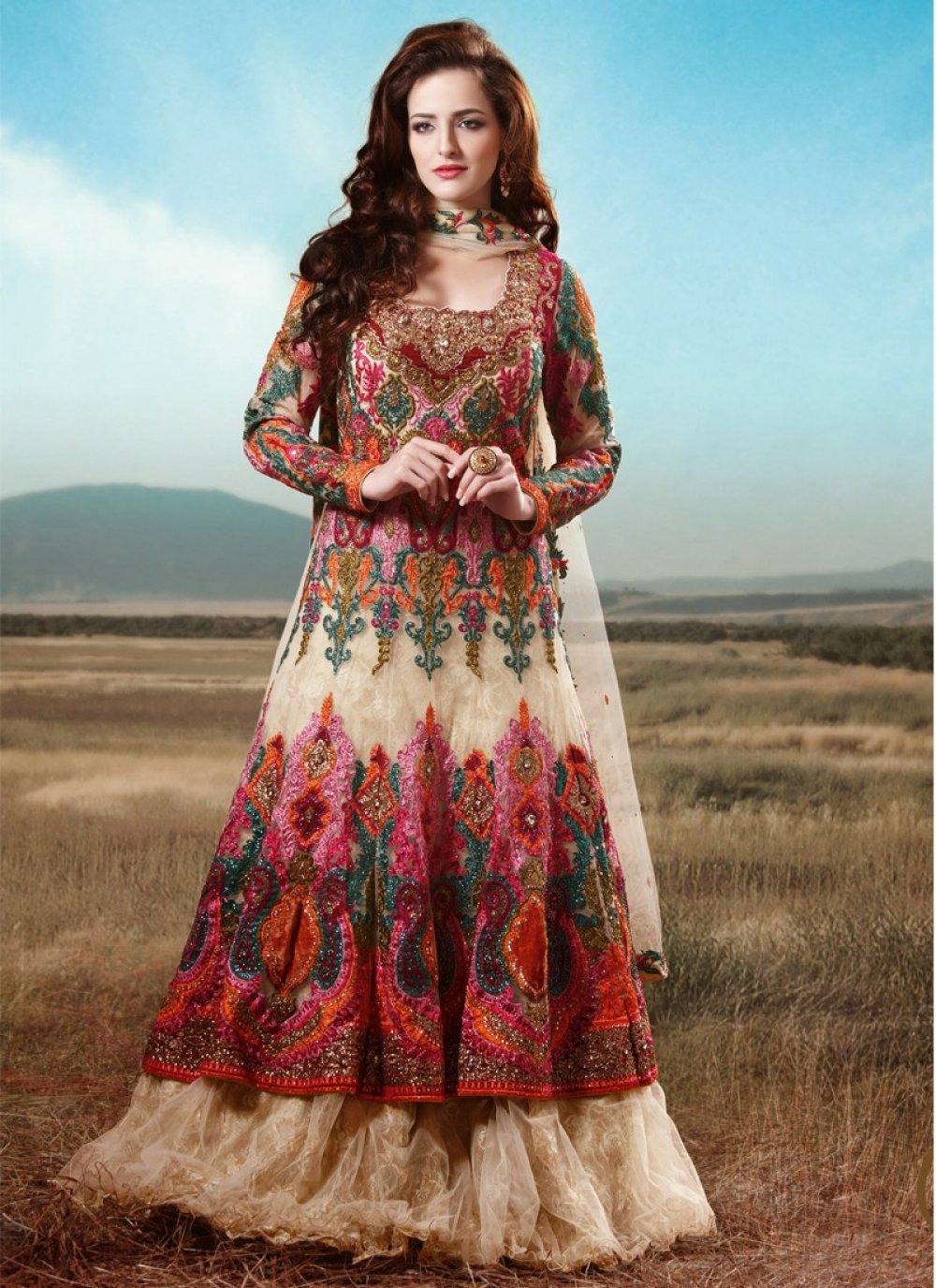 Cream Net Resham Work Bridal Lehenga Choli