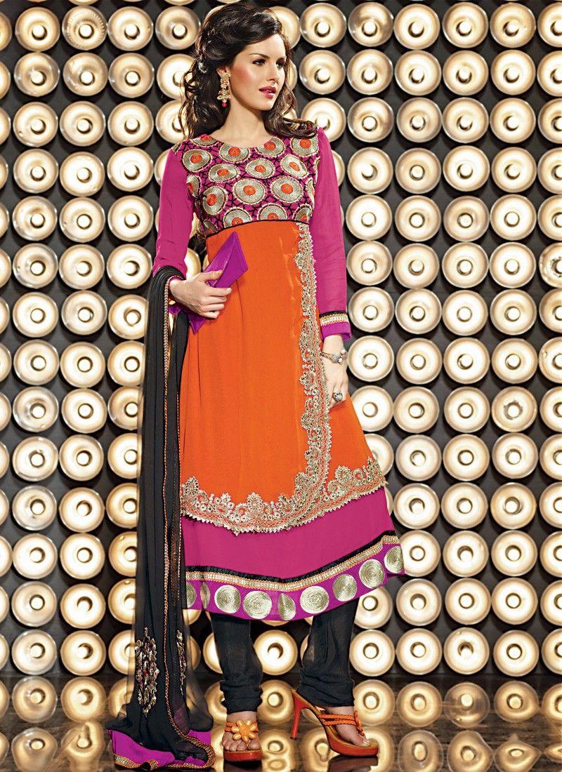 Deep Orange & Deep Pink Salwar Kameez