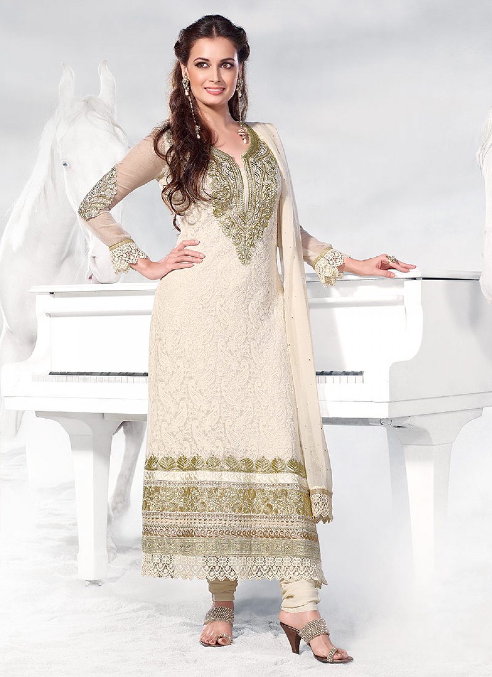 Dia Mirza Off White Resham Churidar Suit