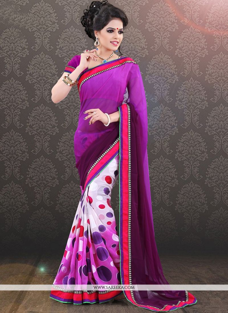 Georgette Purple and White Print Work Casual Saree