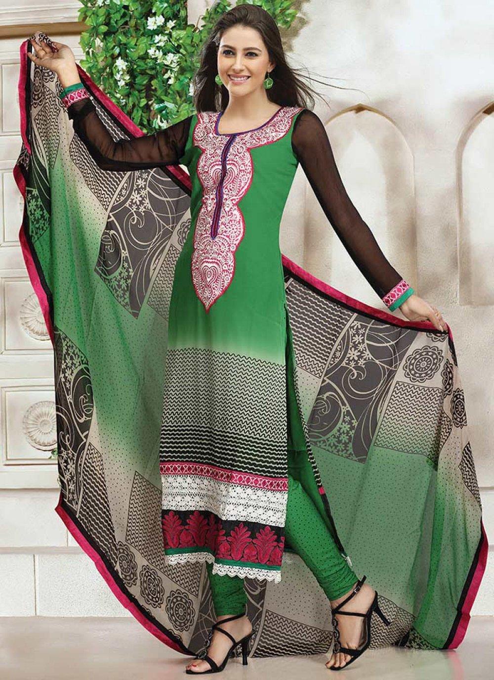 Green Georgette Printed Churidar Suit