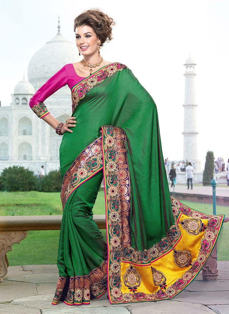 Green Printed Art Silk Saree