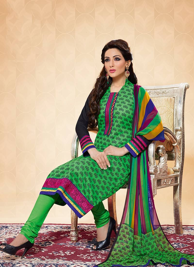 Green Printed Cotton Churidar Suit