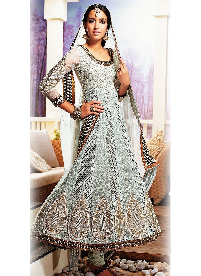 Grey Resham Work Net Anarkali Salwar Suit