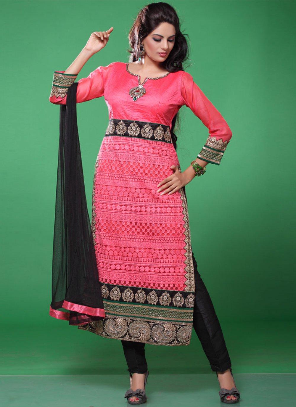 Hot Pink And Black Resham Work Faux Georgette Churidar Salwar Suit