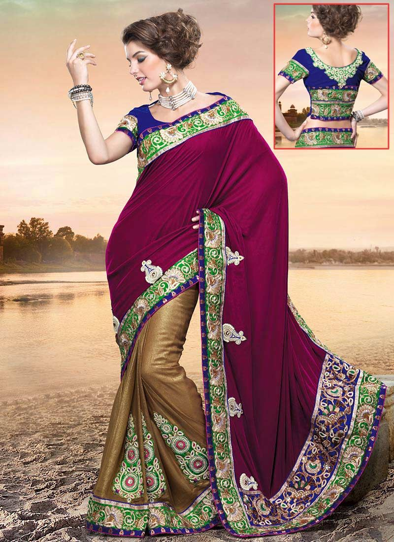 Magenta Half And Half Saree