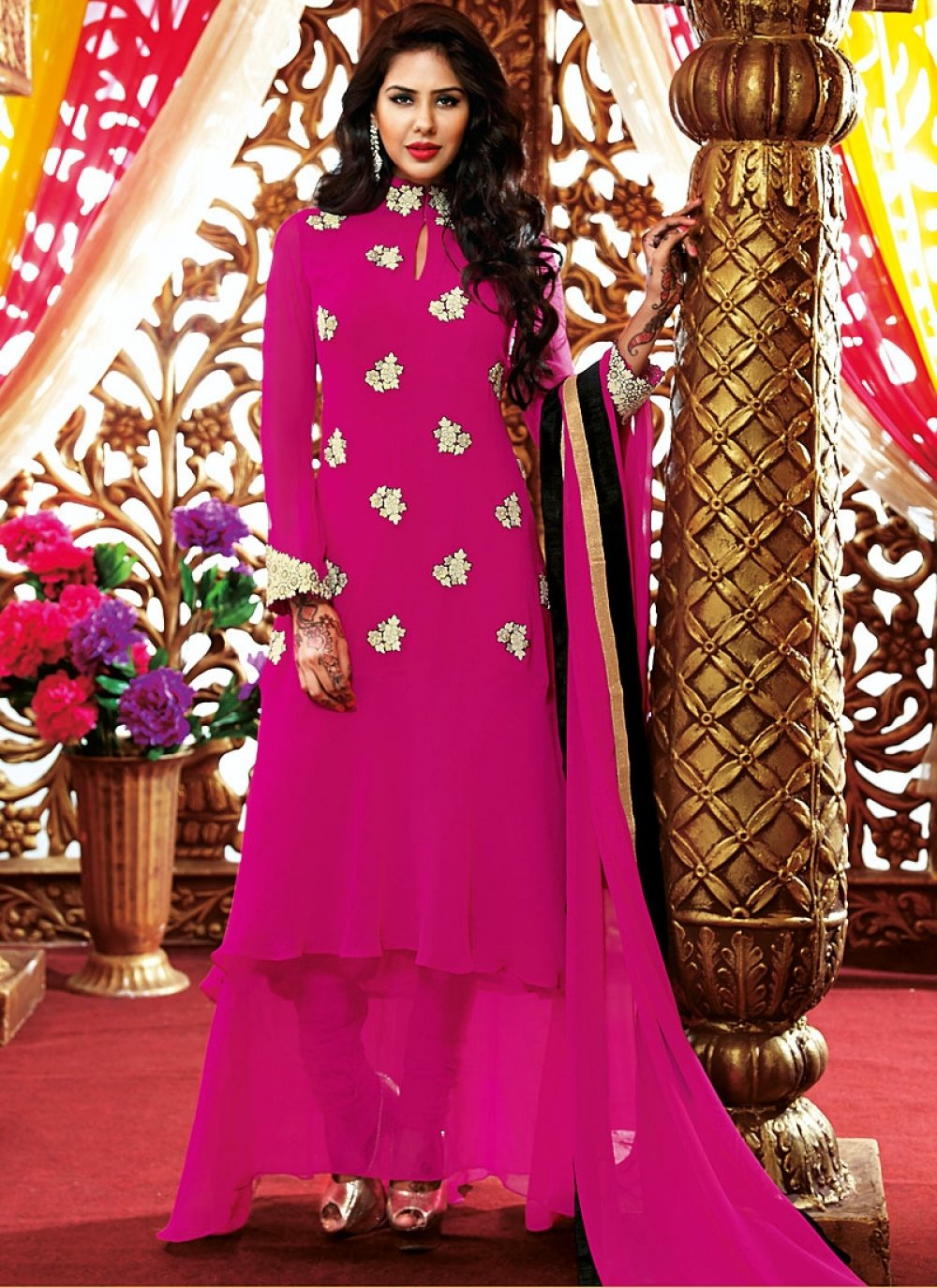 Magenta Resham Work Georgette Anarkali Suit