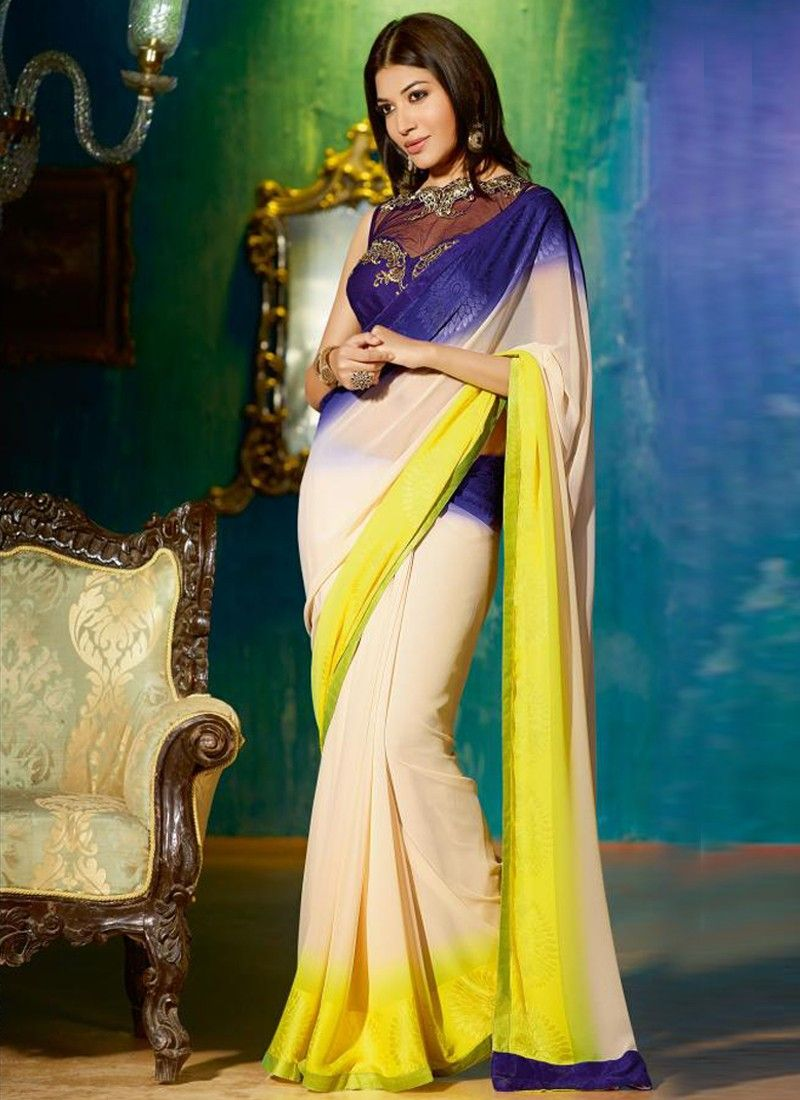 Multicolor Embroidery Georgette Casual Saree