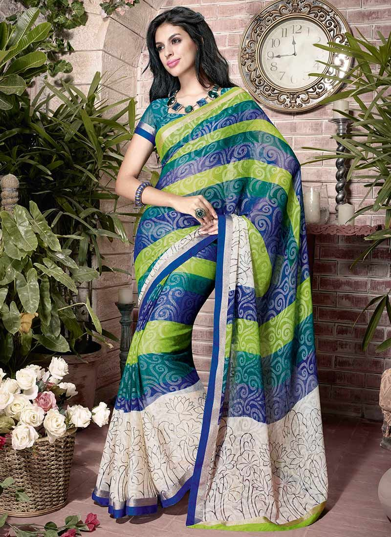 Multicolor Printed Art Silk Saree
