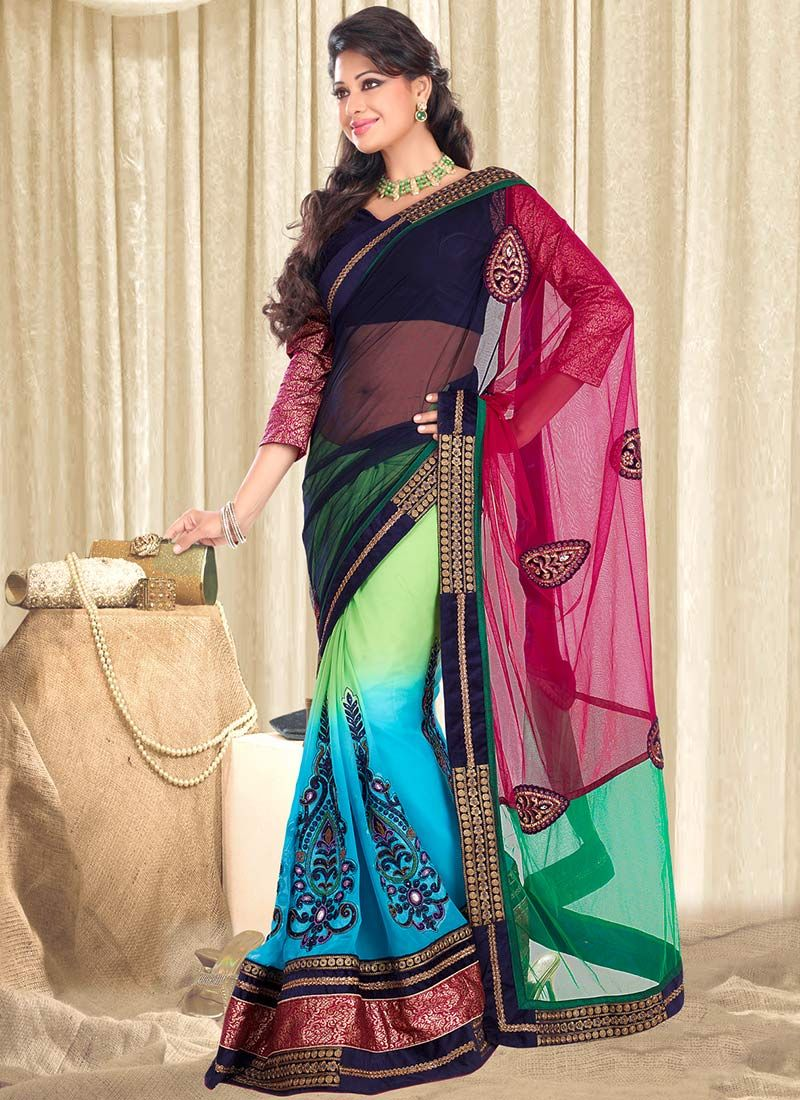 Multicolored Net Georgette Saree