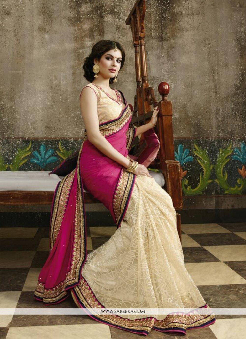 Net Cream Zari Work Designer Saree