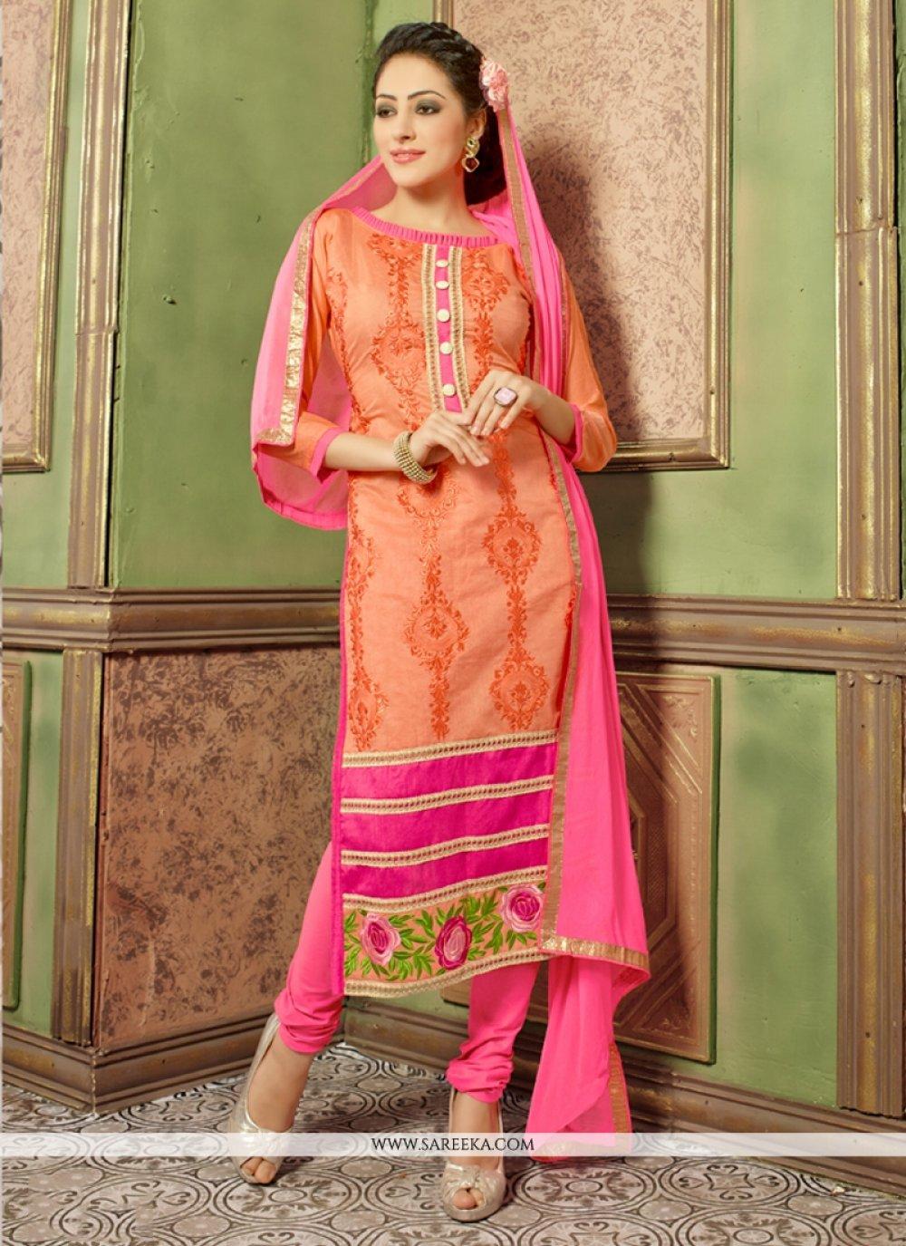 Orange Churidar Salwar Kameez