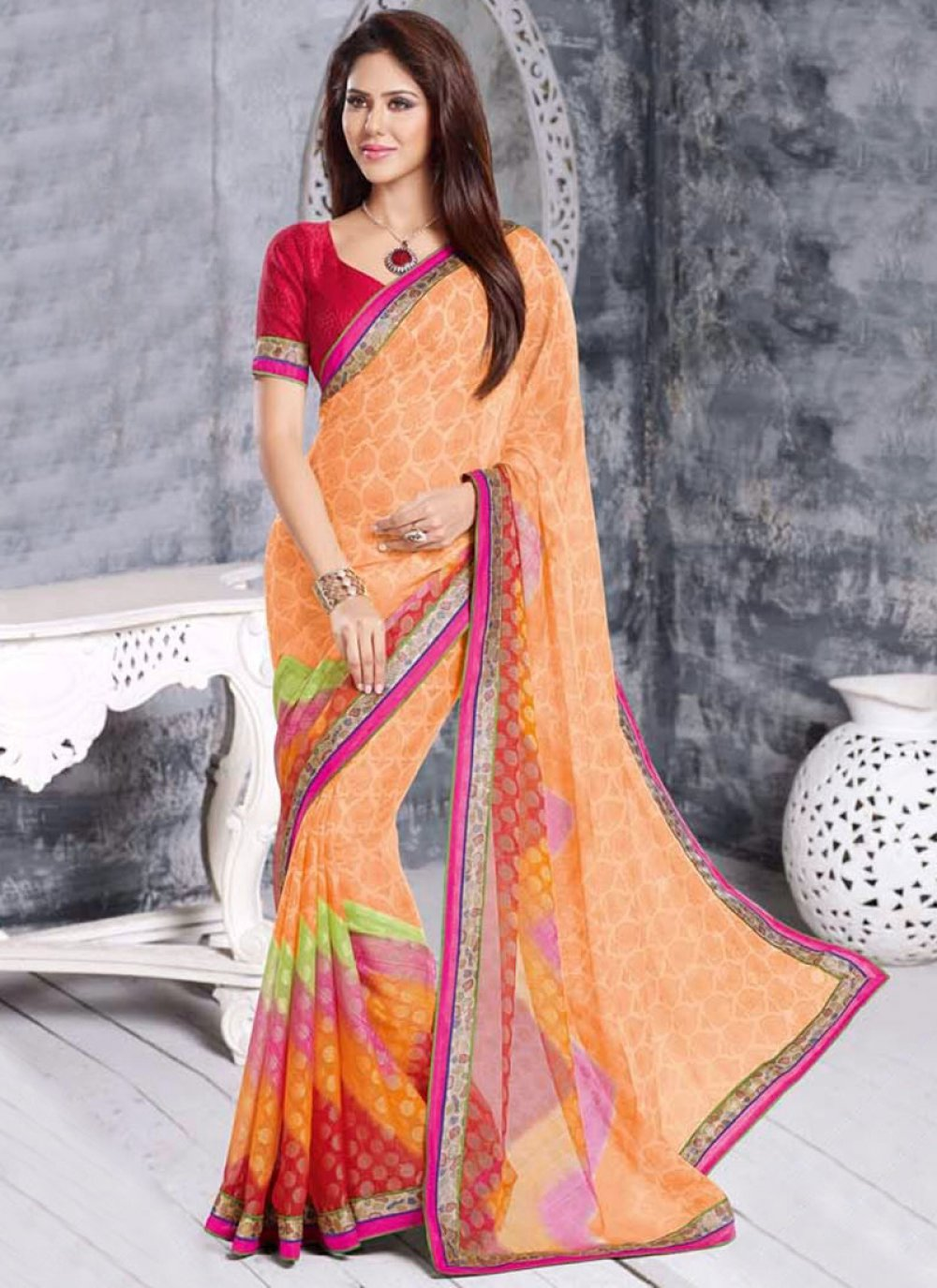 Peach Cotton Brasso Saree