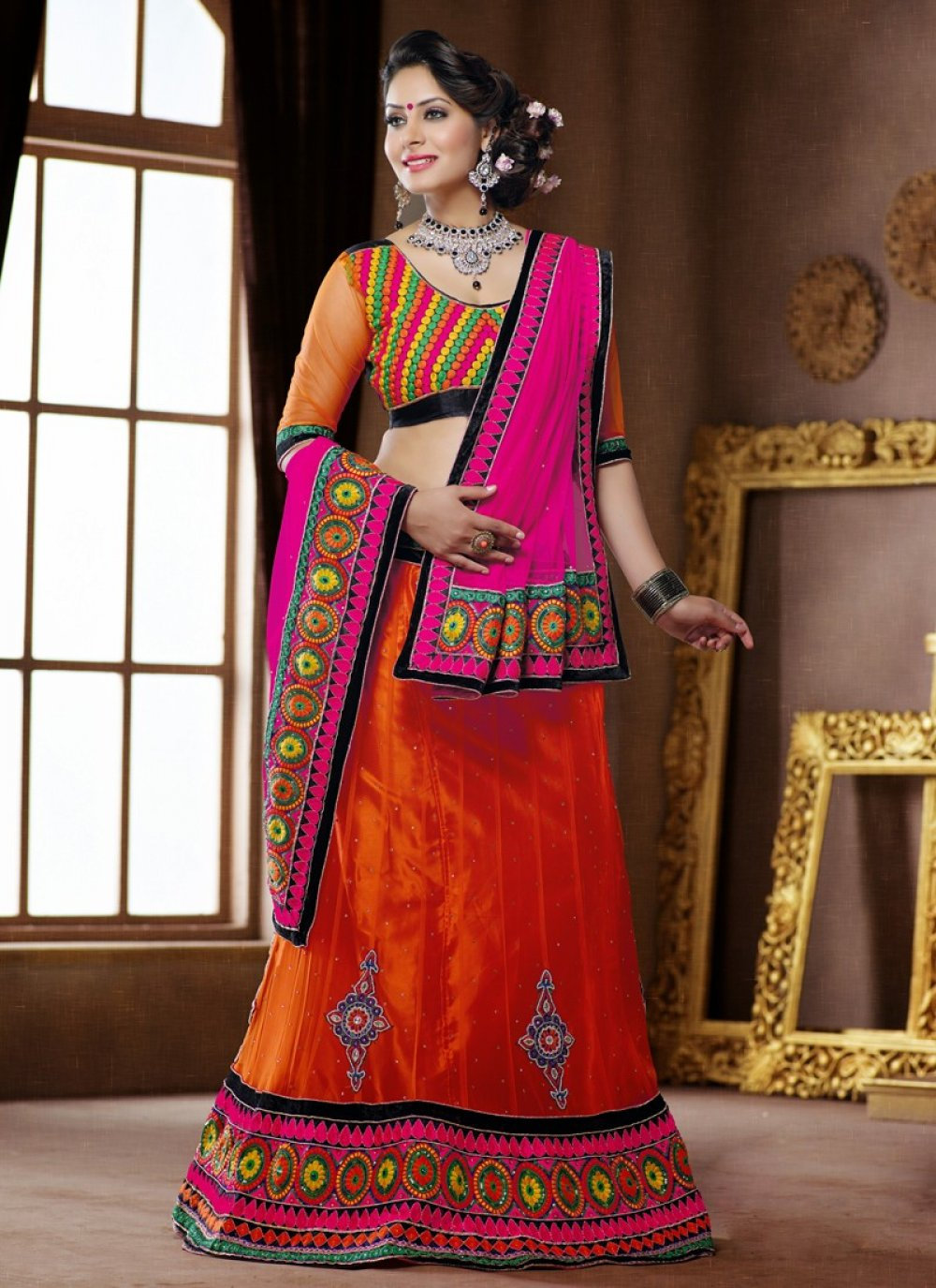 Orange Embroidery Net Velvet Lehenga Choli