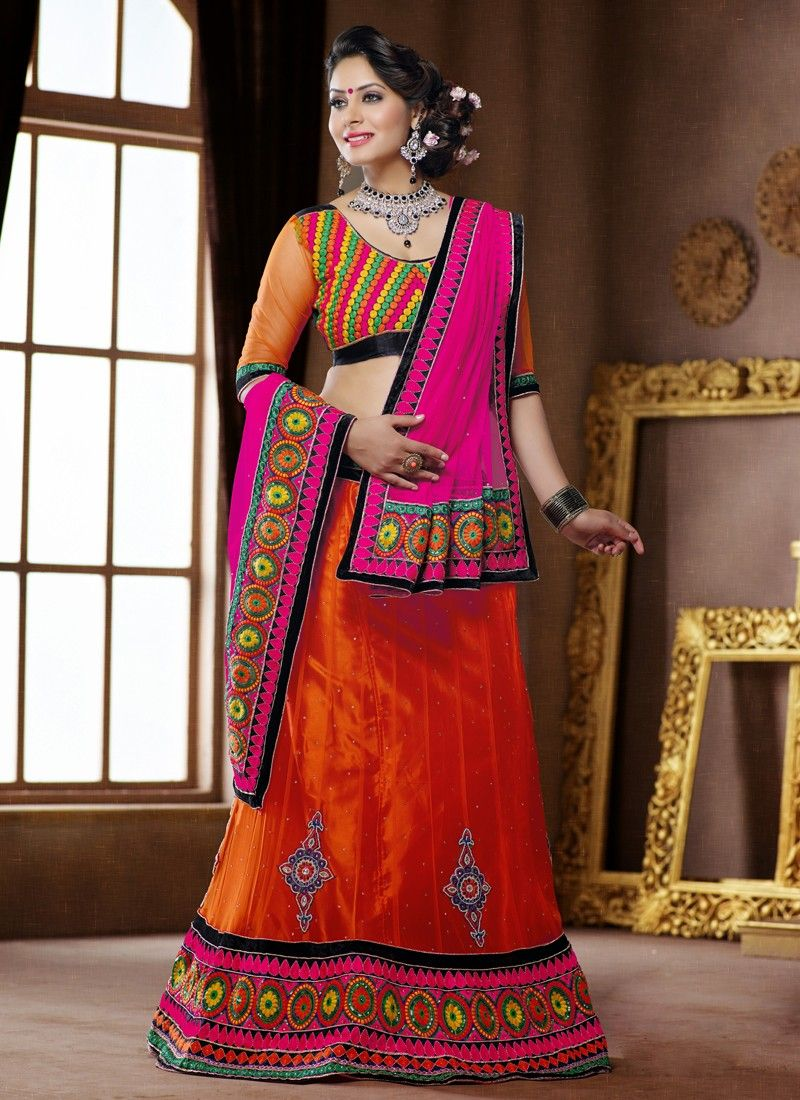 Orange Embroidery Net Velvet Lehenga Choli
