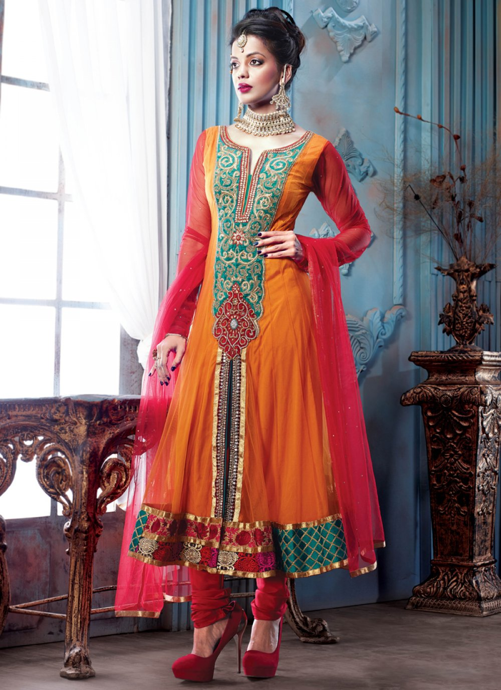 Orange Embroidery Work Net Anarkali Suit