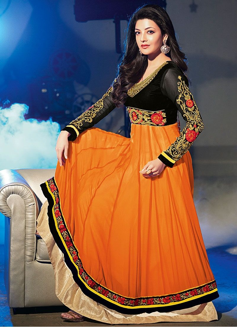 Orange Resham Work Georgette Anarkali Suit