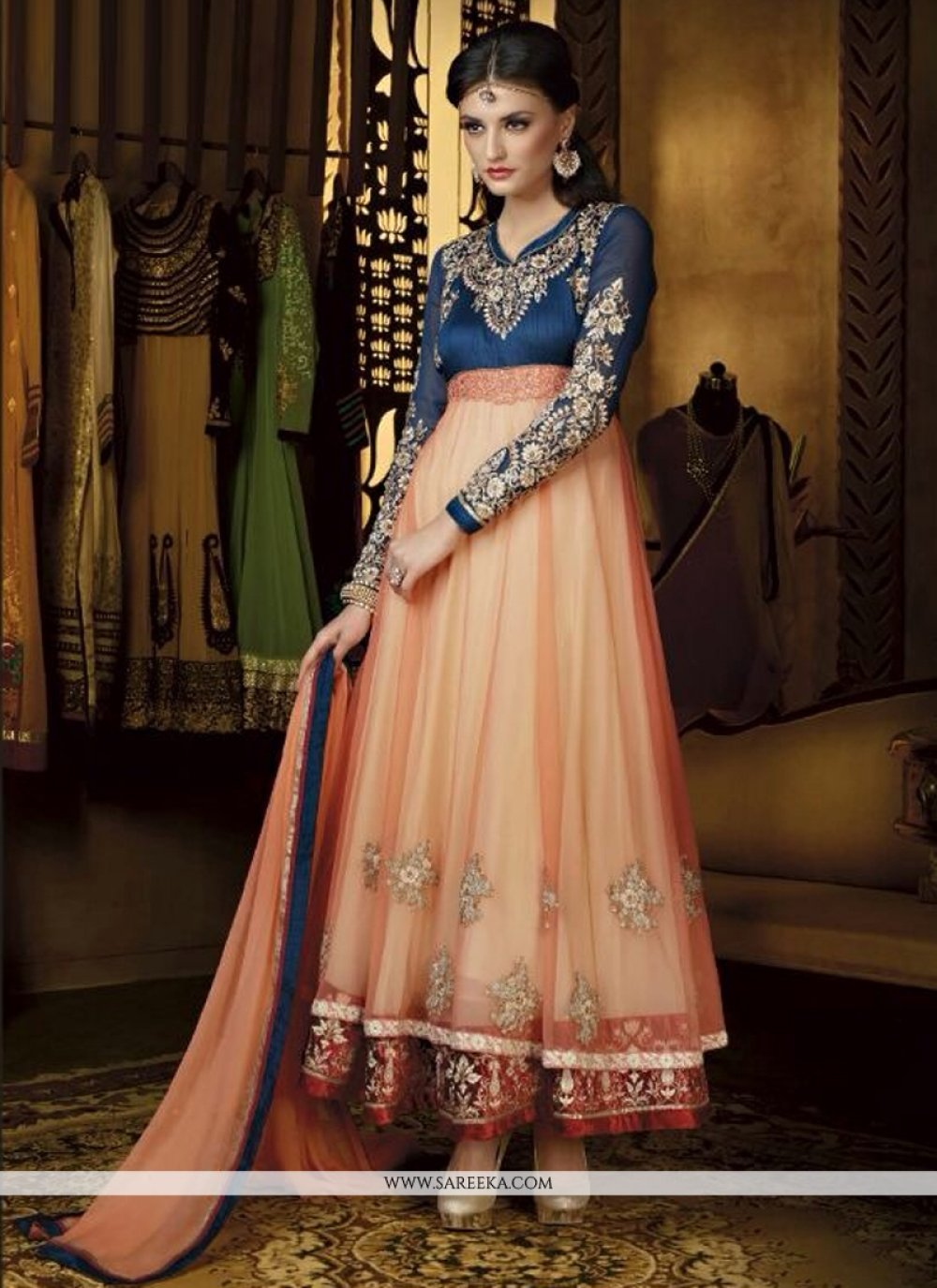 Peach Georgette And Net Anarkali Suit