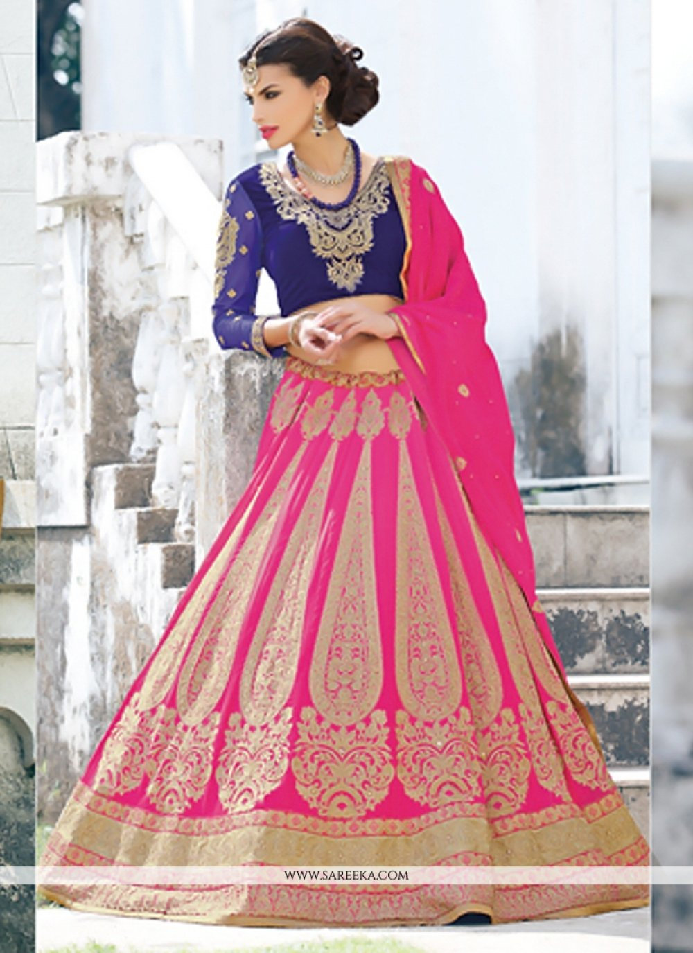 Pink And Blue Georgette Lehenga Choli