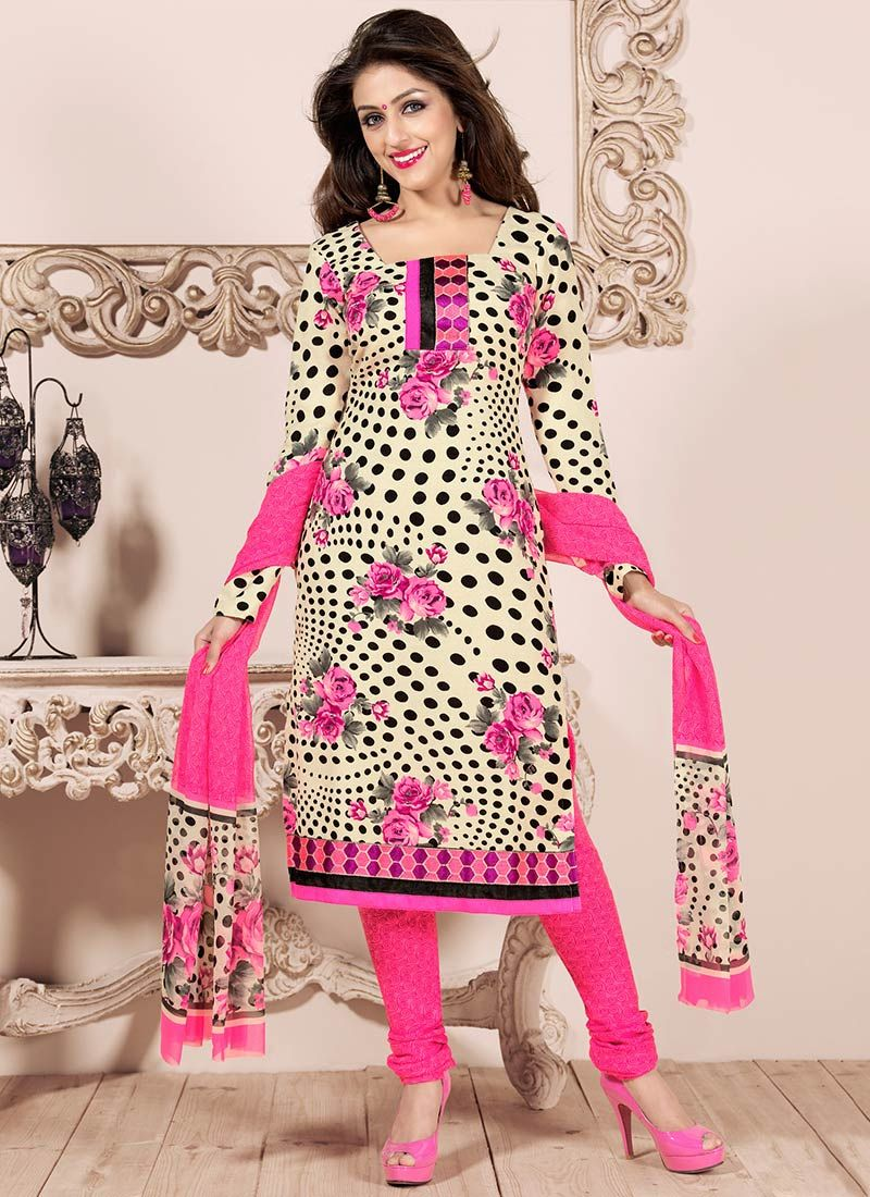 Pink And Cream Creap Churidar Suit