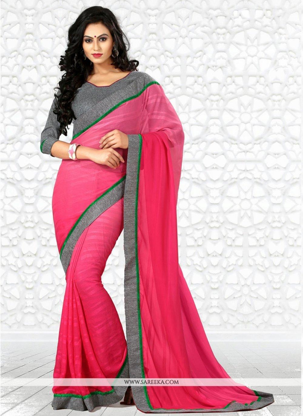 Pink Chiffon Casual Saree