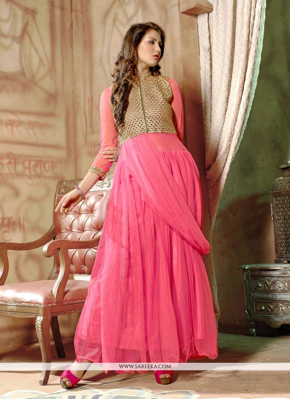 Pink Net Designer Gown