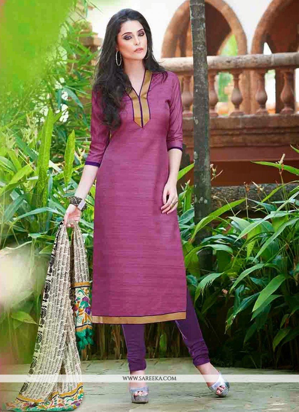 Purple Gota Patti Work Churidar Suit