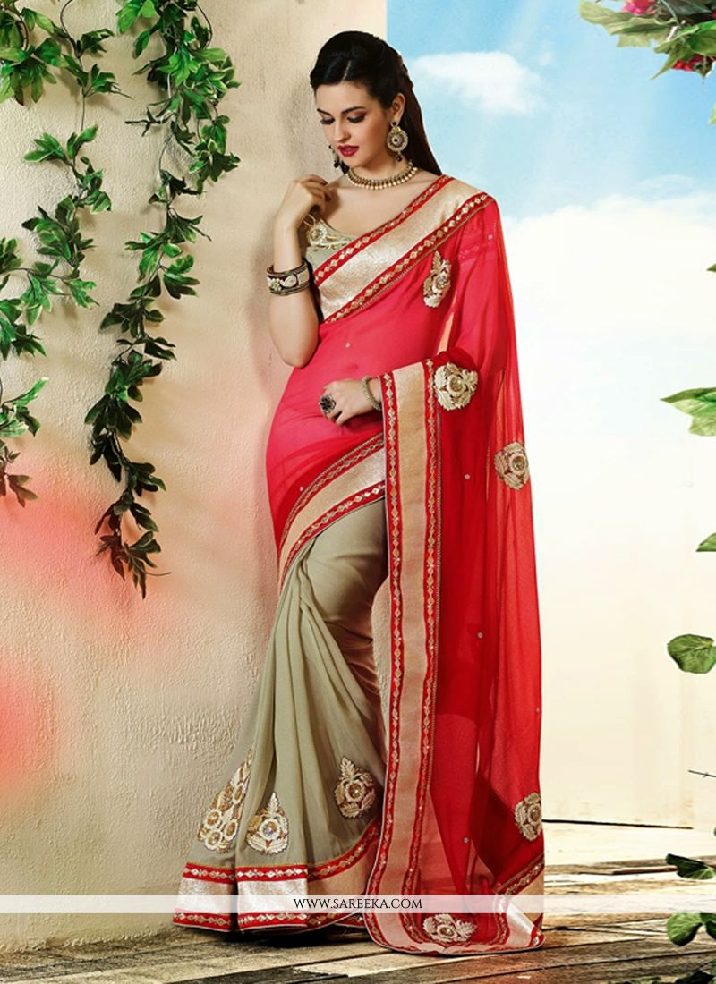 Red And Beige Georgette Saree