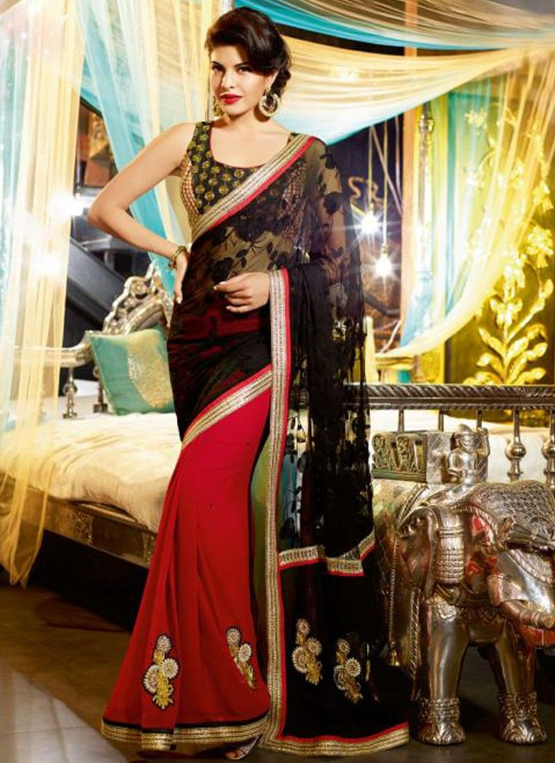 Red And Black Resham Work Georgette Saree