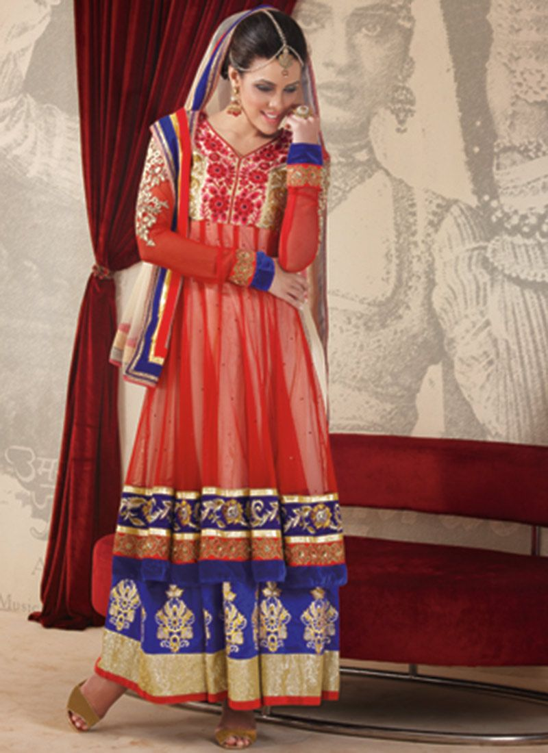 Red Faux Georgette Designer Anarkali Suit