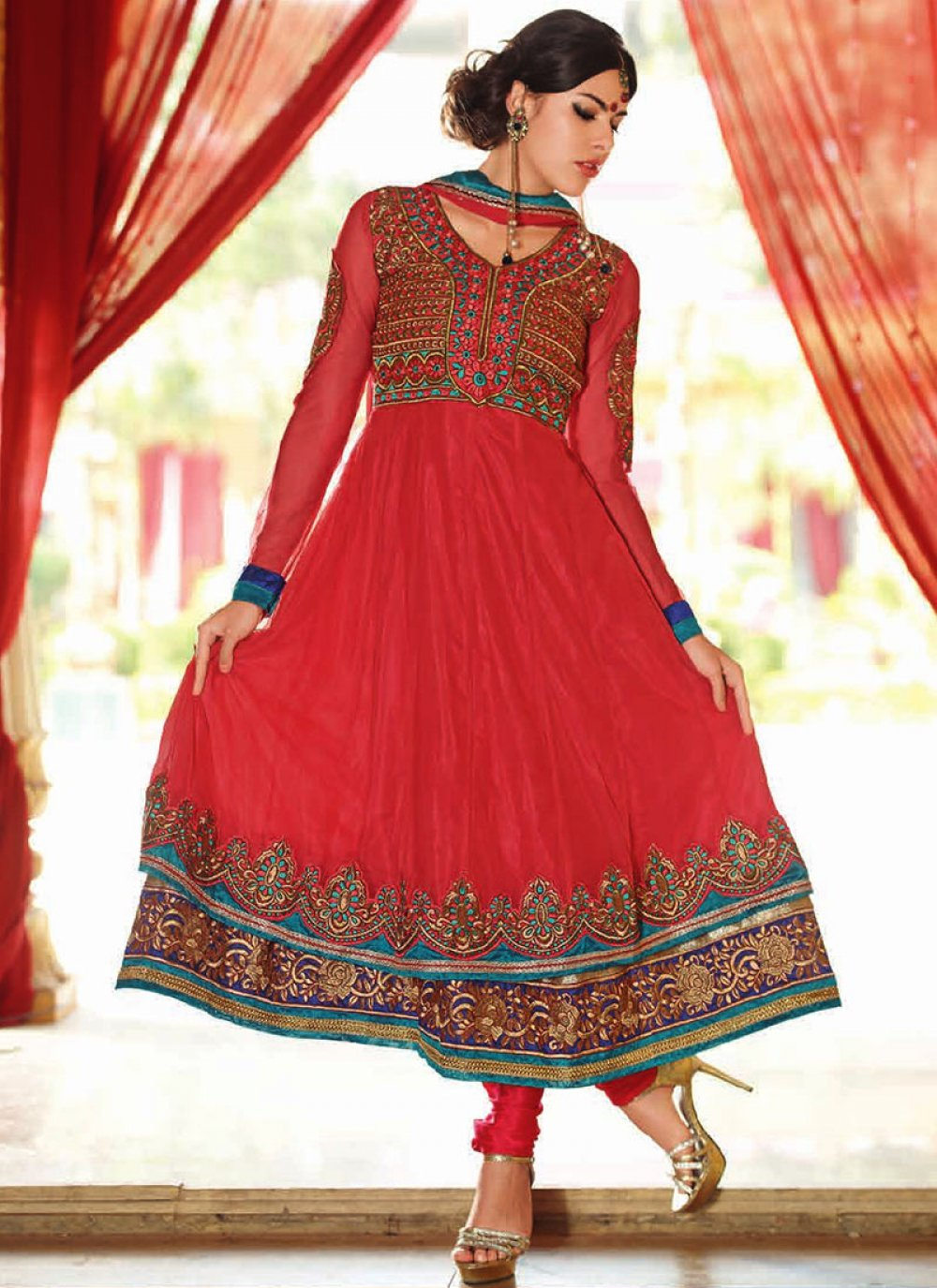 Red Georgette Layered Anarkali Suit
