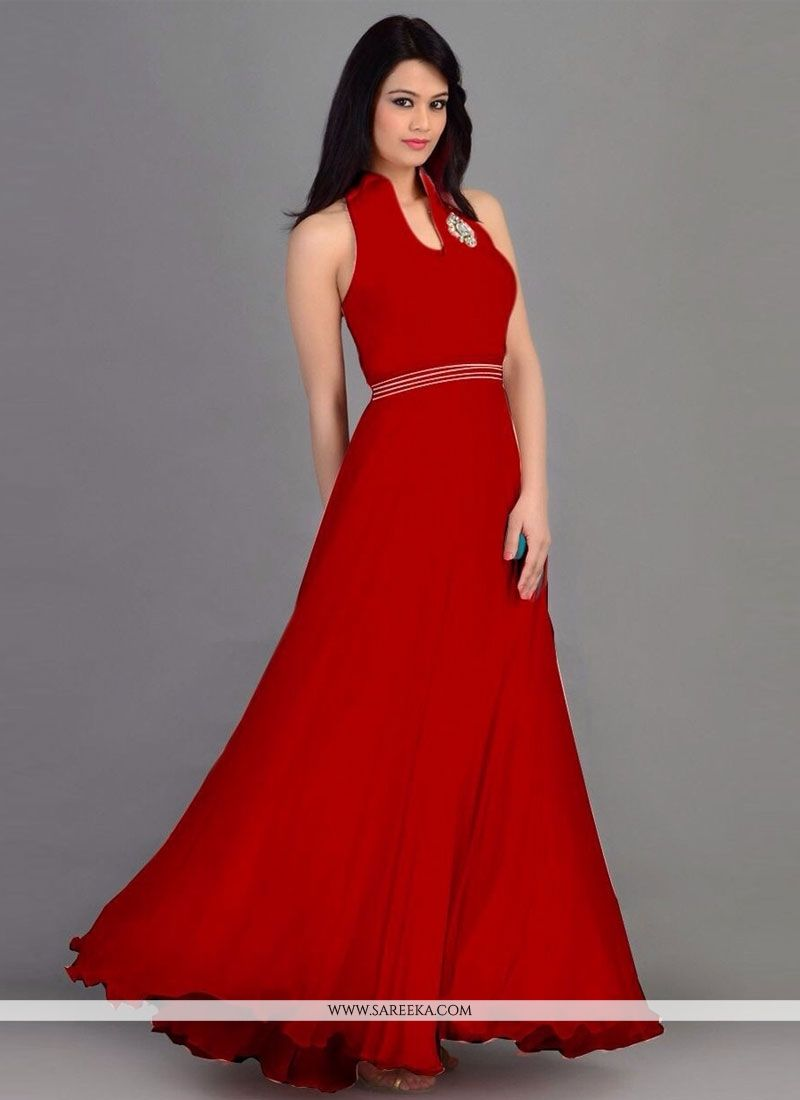 Red Georgette Party Wear Gown