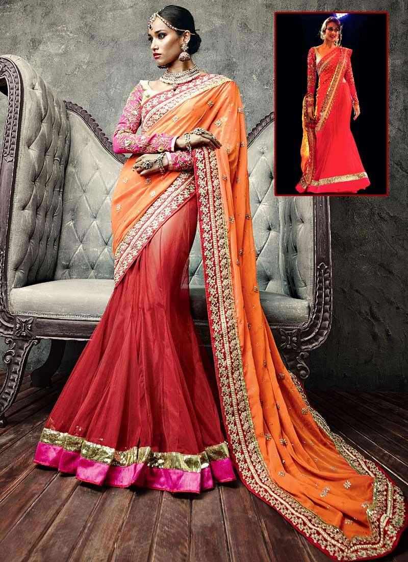 Red Net IIFA Lehenga Saree