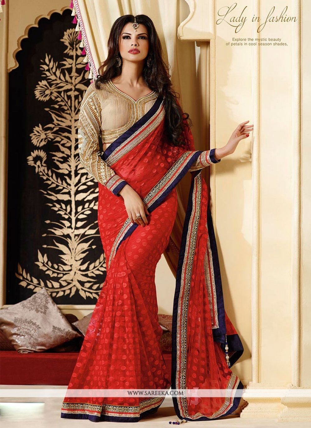 Red Net Wedding Saree
