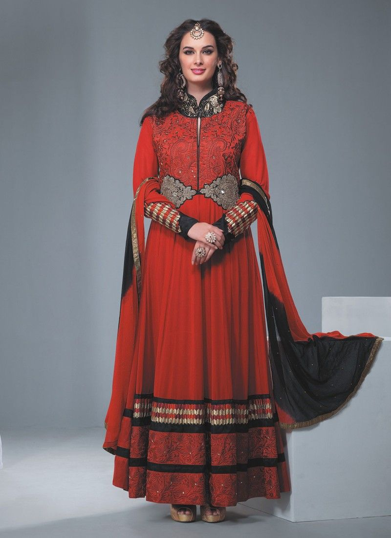 Red Resham Border Work Anarkali Suit