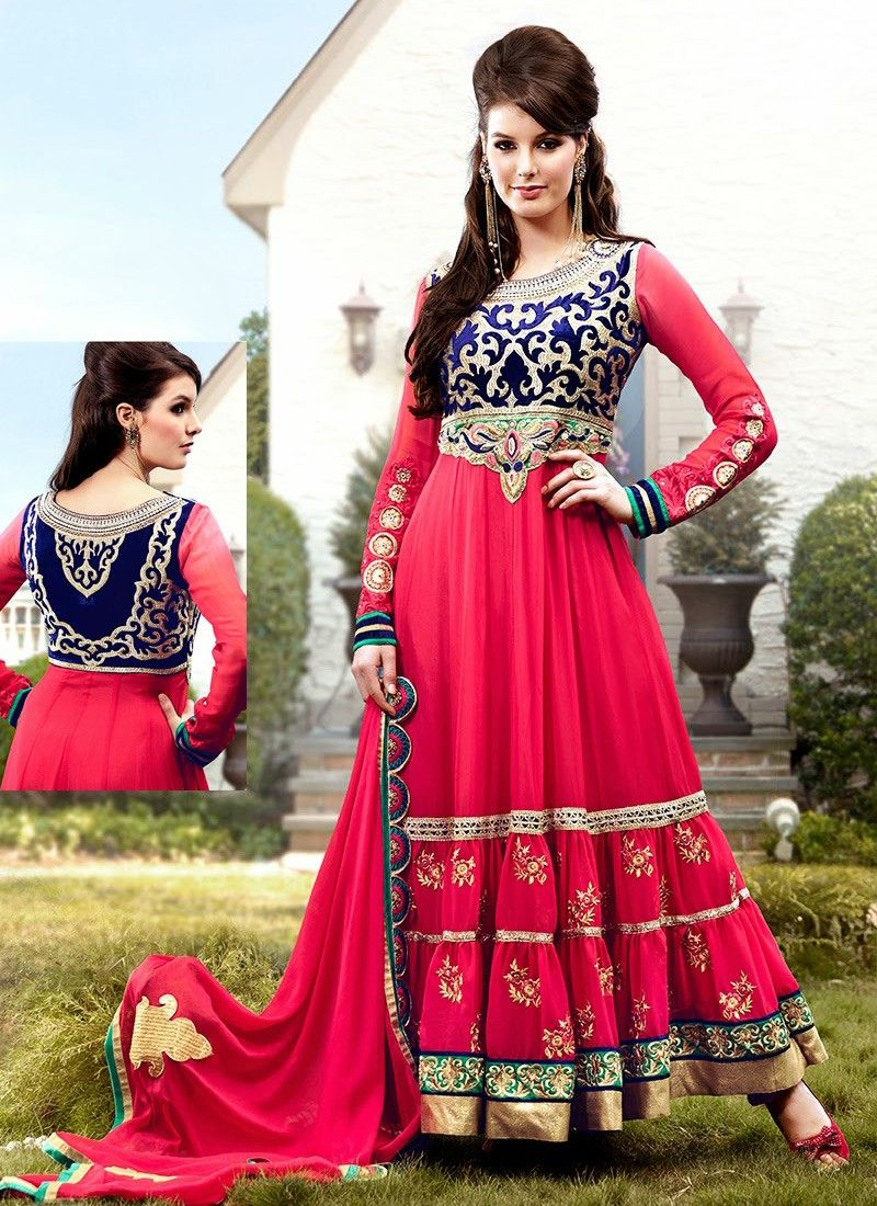 Red Resham Work Anarkali Suit