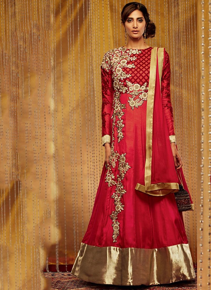 Red Resham Work Faux Georgette Anarkali Suit
