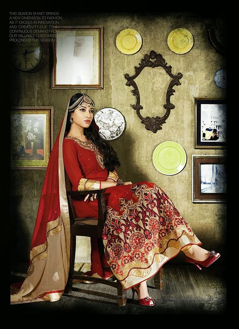 Red Resham Work Georgette Anarkali Salwar Suit