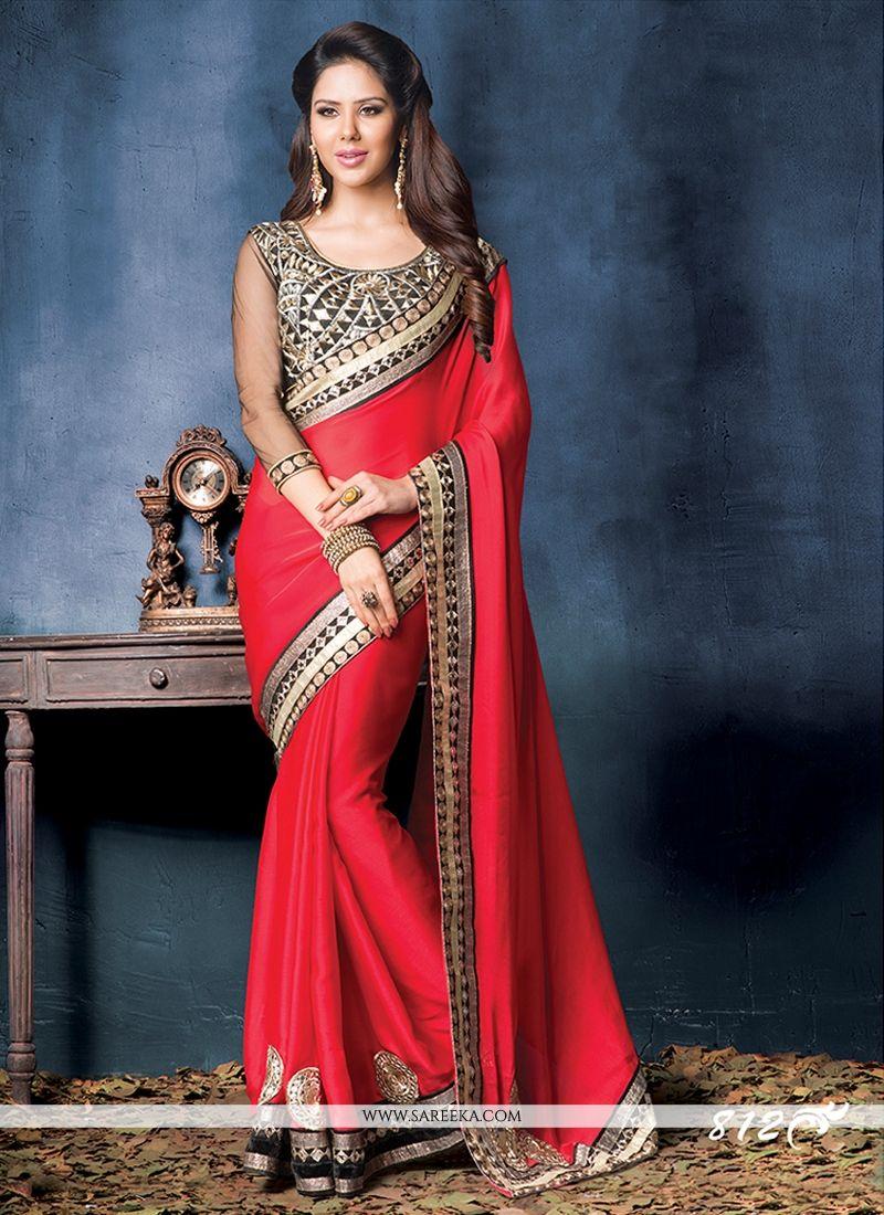 Red Satin Chiffon Wedding Saree