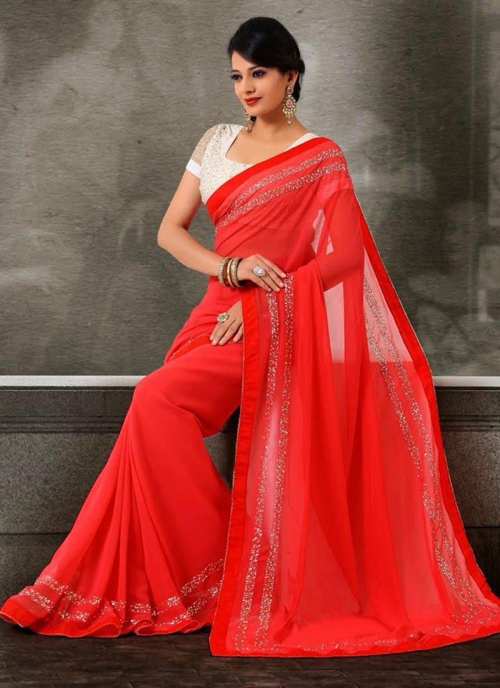 Red Sequins Work Faux Chiffon Saree